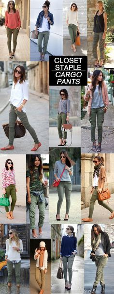 I'm loving the look of these pants!Closet Staple: Cargo Pants (major inspiration how to wear yours + the best affordable ones you can find now! Army Cargo Pants, Cargo Pants Outfit, Khaki Skinny Jeans Outfit, Skinny Cargo Pants, Khaki Jeans, Outfit Jeans, Outfits Pantalon Verde, Fall Winter Outfits, Autumn Winter Fashion