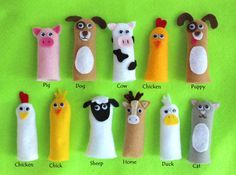 Farm - Add your custom handmade book to a single page. Let your child's imagination play with the farm animal finger puppets! The size 8 x 8 comes Felt Puppets, Felt Finger Puppets, Preschool Crafts, Crafts For Kids, Finger Puppet Patterns, Quiet Book Patterns, Selling Handmade Items, Diy Bird Feeder, Felt Quiet Books