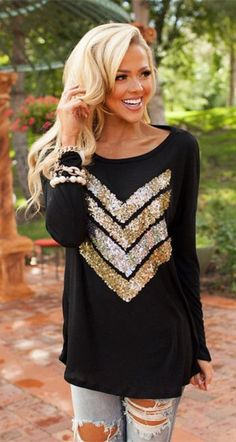 Black and Gold Chevron Patchwork Sequin Round Neckline T-Shirt #Black #Gold #Sequins #Chevron #T_Shirts  #Casual #Tops