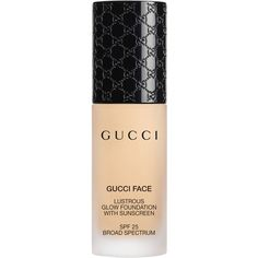 Gucci Medium 060, Lustrous Glow Foundation ($65) ❤ liked on Polyvore featuring beauty products, makeup, face makeup, foundation, beauty, cosmetics, beleza, gucci, spf foundation and sensitive skin foundation