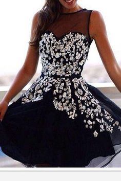 Dark Navy Appliques Graduation/Homecoming Dress E83                                                                                                                                                     More