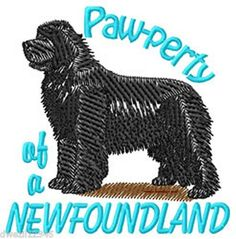 PAW-PERTY OF A NEWFOUNDLAND - DOG - 1 EMBROIDERED HAND TOWEL by Susan
