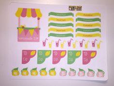 Lemonade Stickers for Erin Condren Plum by MaklowPlannerGoodies