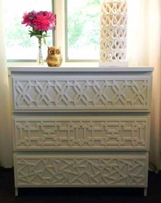"Awesome Product called ""O'verlays"". They are decorative panels that come in all sizes and designs. Add them to plain furniture or Ikea pieces to make the piece look more expensive."