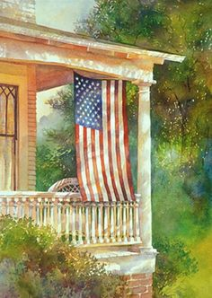 ♡ two of my favorite things porches and flags American Pride, American Flag, Watercolor Landscape, Watercolor Paintings, Watercolors, Home Of The Brave, Old Glory, God Bless America, Fourth Of July
