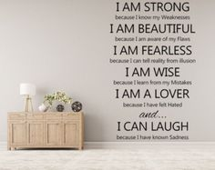 I Am Strong Vinyl Wall Decal Vinyl Wall Decal Handmade Vinyl Wall Art Custom Orders Custom Vinyl Decals Custom Art Fearless  I am Beautiful by inspirationwallsigns. Explore more products on http://inspirationwallsigns.etsy.com