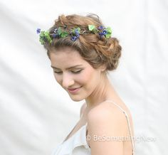 Woodland Rustic Purple and Green Flower Crown by BeSomethingNew, $42.00