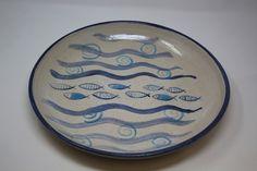 www.shopinireland.ie/store/skellig-pottery/ Large platter with fish design #shopinireland #shophandmade #skelligpottery #pottery #bluepottery #platters #coastalstyle #coastaldecor #fish Coastal Style, Coastal Decor, Blue Pottery, Fish Design, Handmade Shop, Platter, Coasters, Store, Tableware