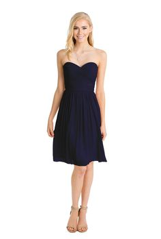 Watters 'Pine Dress' in Indigo. This classic dress by Watters features a strapless sweetheart neckline and draped bodice. The chiffon material gives it a perfect amount of elegance and flow. Removable straps included. Discover more bridesmaid dresses to rent at vowtobechic.com