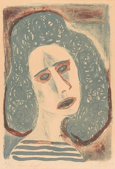 By Otto Dix (1891-1969), 1949, Frauenkopf (Woman head), lithograph in colors.