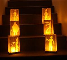 #7Cricut - We love Halloween Luminaries. This would be a fun project for my home. Cricut Cartridge used: The Movable Monsters Cricut Craft Room Exclusive cartridge. Line them along your sidewalk or staircase for an eerie effect this Halloween. They make a great addition to any party!!! I usually use battery operated candles to avoid fire potential.