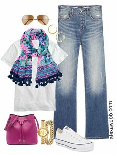 Plus Size Spring Casual Outfit from a Capsule with bootcut jeans, white t-shirt, and Lilly Pulitzer scarf - Alexa Webb