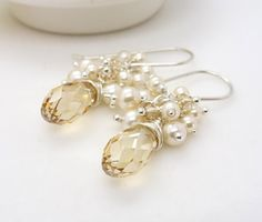 Ivory and champagne wedding earrings, champagne crystal earrings, ivory bridal jewelry. $65.00, via Etsy.