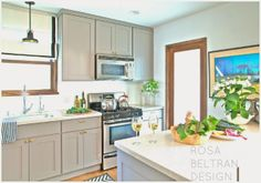 Gray Kitchen Cabinets with Brass Hardware, Transitional, kitchen, Benjamin Moore Eagle Rock, Rosa Beltran Design Best Kitchen Cabinets, Kitchen Cabinet Hardware, Kitchen Cabinet Colors, Grey Cabinets, Painting Kitchen Cabinets, Kitchen Paint, Kitchen Dining, Brass Hardware, Brass Kitchen