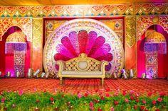 A Tirupur Wedding Of A Makeup Artist's Daughter Wedding decorations Engagement Stage Decoration, Wedding Hall Decorations, Backdrop Decorations, Flower Decorations, Backdrops, Reception Stage Decor, Event Decor, Wedding Mandap, Wedding Chairs