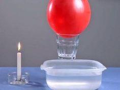 Levantar un vaso con un globo. Experimentos para niños