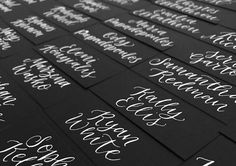 Place cards are one of my favourite jobs to do. Not only do they make a bride smile (and the happy couple's guests!), they give me a few uninterrupted hours of calligraphy. Bliss!