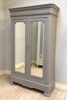mole's breath F&B IF3654 ANTIQUE FRENCH PAINTED ARMOIRE / WARDROBE painted farrow ball mole's breath