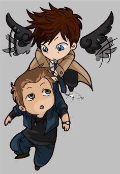 little cas & dean Sam Dean, Dean Castiel, Dean And Cas, Crowley, Supernatural Cartoon, Supernatural Fan Art, Supernatural Drawings, Bobby, Chibi