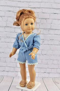 305087326522 18 inch doll Denim romper. Fits dolls such as American Girl dolls