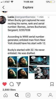 BUT, Sebastian has said that he thinks Bucky did enlist. He said it at a Con after a question was asked about Bucky's serial number and whether or not he enlisted or was drafted. Marvel Funny, Marvel Dc Comics, Marvel Avengers, Avengers Memes, Marvel Memes, Fandoms, Bucky And Steve, James Buchanan, Bucky Barnes
