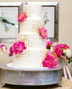 Pink Peony and Gold Confetti Cake Metallic Wedding Cakes, White Wedding Cakes, Beautiful Wedding Cakes, Beautiful Cakes, Amazing Cakes, Perfect Wedding, Confetti Cake, Gold Confetti, Traditional Wedding Cake