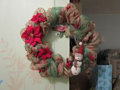 ...at the Cottage - red, green stripe mesh with poinsettias and snowman created by DonElla Nielsen