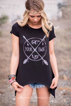 Go Your Own Way Graphic Asymmetrical Top (Black) - NanaMacs.com - 4
