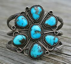 Old Pawn Native American c.1930 Sterling Silver Cluster Turquoise Cuff Bracelet
