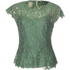 Philosophy Di Alberta Ferretti Green Lace Top ($230) ❤ liked on Polyvore