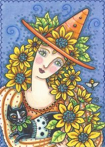 Sunflower Witch - It's never too early to start thinking of cool fall breezes and the fun of a Halloween night.   Just listed this garden witch trading card on Ebay.  Susan Brack original Halloween Witch illustration Art EHAG ACEO EBSQ