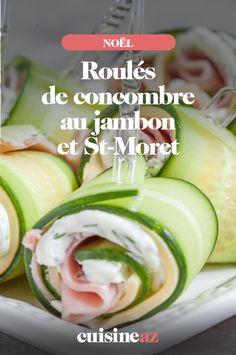 Les roulés de concombre au jambon et Saint-Moret sont parfaits pour un apéritif économique. #recette#cuisine#aperitif#jambon #concombre #jambon #fromage Saint, Cucumber, Vegetables, Cheese, Cooking Recipes, Cooking Food, Meal, Vegetable Recipes, Zucchini