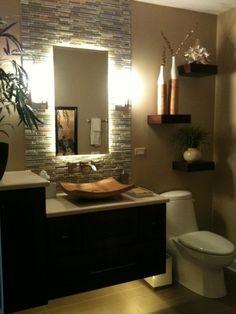 Hana Bath - tropical - bathroom - chicago - by J.loving the wall mounted vanity with lighting underneath, tile & mirror, sconces. Half Bathroom Decor, Bathroom Spa, Bathroom Interior Design, Small Bathroom, Bathroom Lighting, Bathroom Marble, Bathroom Ideas, Mirror Bathroom, Bathroom Renovations