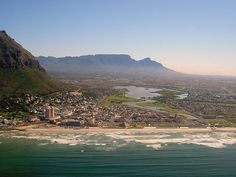 Helicopter view looking back over the Cape Flats to Table Mountain and Devils Peak © A guy called John