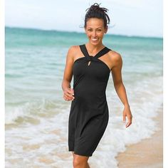 "Kiki Swim Dress | Athleta - I'm not sure why one would need a ""swim dress"" but it's cute…what I'd really like is the beach she's on..."