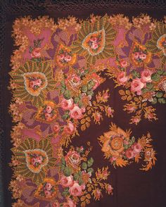 Shawl with Rose Design, French 19th C