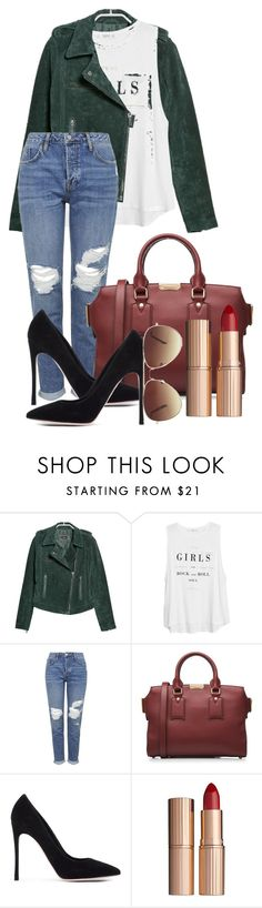 """""""Untitled #423"""" by xxmariana-garciaxx ❤ liked on Polyvore featuring MANGO, Topshop, Burberry, Gianvito Rossi, Charlotte Tilbury and Forever 21"""