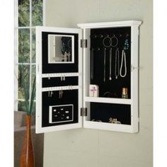 White Wall-mount Jewelry Armoire with Lock | Shopping - The