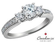 Canadian Ice Three Stone Diamond Engagement Ring 1 0 Carat Ctw Si2 I1