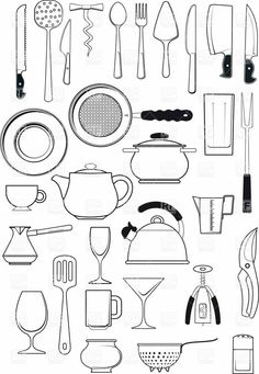 large set of thirty items on kitchen utensils.All Objects are grouped separately large set of thirty items on kitchen utensils.All Objects are grouped separately. Free Vector Clipart, Image Clipart, Clipart Design, Image Vector, Vector Graphics, Clipart Gallery, Kitchen Drawing, Kitchen Utensil Set, Kitchen Paint Colors