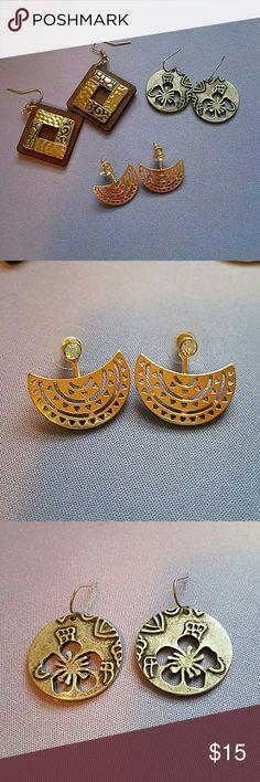 3 Super Cute Pairs of Earrings Three super cute pairs of earrings! Buy all three for a great deal of only 15$! Jewelry Earrings