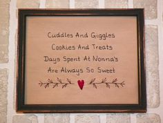 UNFRAMED Primitive Sampler Stitchery Picture OMA New Baby Gift Idea Shower Present Country Home Decor 8 x Rustic Decoration wvluckygirl Embroidery Sampler, Cross Stitch Embroidery, Cross Stitch Patterns, Stitching Patterns, Embroidery Designs, Primitive Wood Signs, Primitive Crafts, Wood Burning Crafts, Frames For Sale