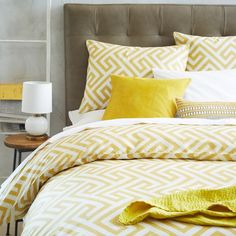 Inspired by classic Moorish tile patterns, the Organic Ikat Key Duvet Cover + Shams' geometric design of precise turns and angles has a timeless appeal.