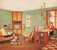 Mid Century Modern family room....love the built-in sewing station, and those copper pendants!