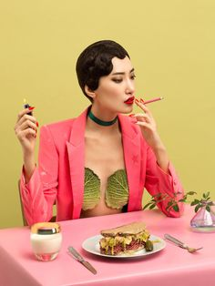 An unusual spa-day with this exclusive online editorial by photographer Aleksandra Kingo. Model Gigi Jeon is captured with very peculiar beauty techniques, whilst sporting colourful and vibrant clothes by Clio Peppiatt, a pink cactus shirt by House of Hol…