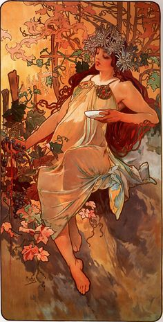 Autumn by Alfons Mucha (1860 - 1939)