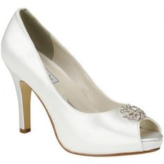 Dazzling Dyeable White Satin High Heel Bridal Shoes feature Ornate Rhinestone Ornaments and Hidden Platform Soles. Fresh peep toe styling puts these regal wedding pumps in the forefront of bridal fashion! Dyeable Shoes, Satin Shoes, Satin Pumps, Up Shoes, Peep Toe Pumps, High Heel Pumps, Pumps Heels, Prom Shoes, Flats