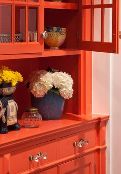 Burnt Orange China Hutch To Match The Walls In The Kitchen