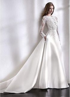Elegant Tulle & Satin Bateau Neckline A-Line Wedding Dress With Lace Appliques &. - Elegant Tulle & Satin Bateau Neckline A-Line Wedding Dress With Lace Appliques & Beadings & Pockets - Long Sleeve Wedding, Long Wedding Dresses, Wedding Dress Shopping, Princess Wedding Dresses, Elegant Wedding Dress, Designer Wedding Dresses, Bridal Dresses, Bridesmaid Dresses, Wedding Gowns