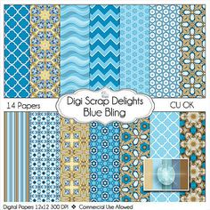 Blue Bling Scrapbook Paper in Aquamarine Blue by DigiScrapDelights